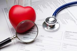 Stethoscope Magnifying Glass Red Heart and Patient Information Form
