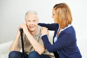 Smiling Elderly Man with Home Carer in Flowery Branch, Georgia