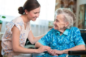 Senior woman with her caregiver at home in Flowery Branch, Georgia