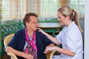 a nurse home care visits a patient in Flowery Branch, Georgia