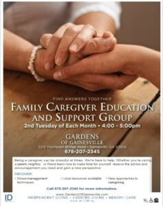Family Caregiver Education and Support Group in Flowery Branch, Georgia