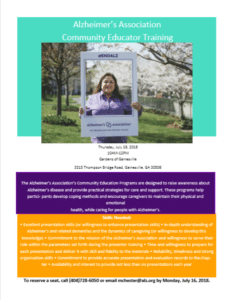 Alzheimer's Association Community Educator Training